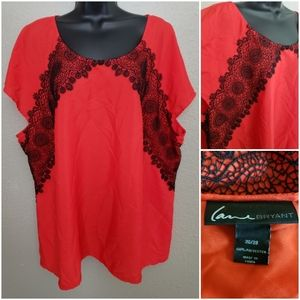 Sz 26/28 - Gorgeous Red with Lace Top